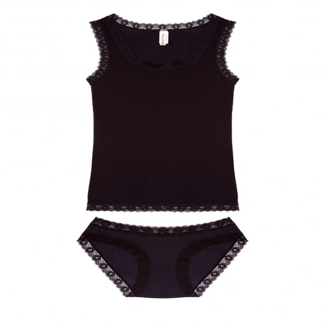 Cheek Frills Vest and Knicker Set in Black