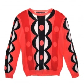 Abstract Scalloped Cashmere Sweater