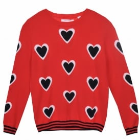 All Over Heart Cashmere Sweater in Cherry