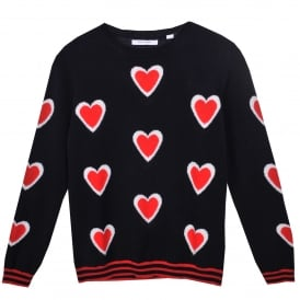 All Over Heart Cashmere Sweater in Navy