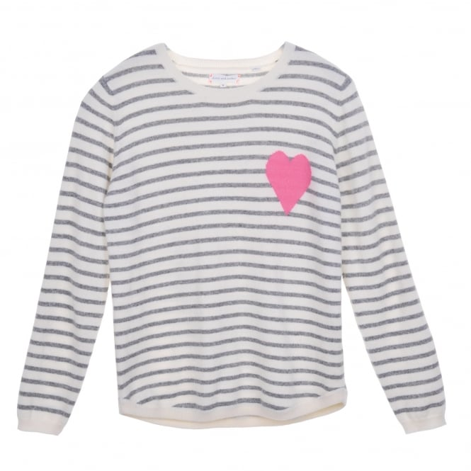 Chinti and Parker Breton Stripe Heart Sweater