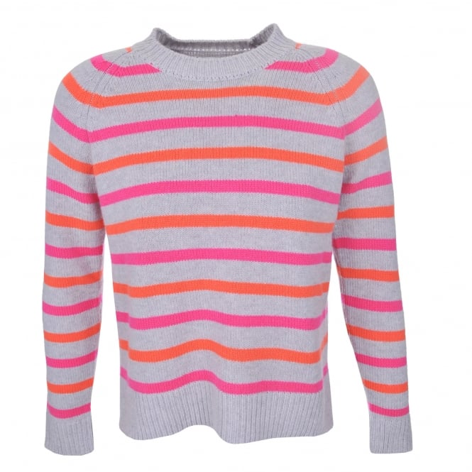 Chinti and Parker Breton Sweater in Silver Pink & Orange