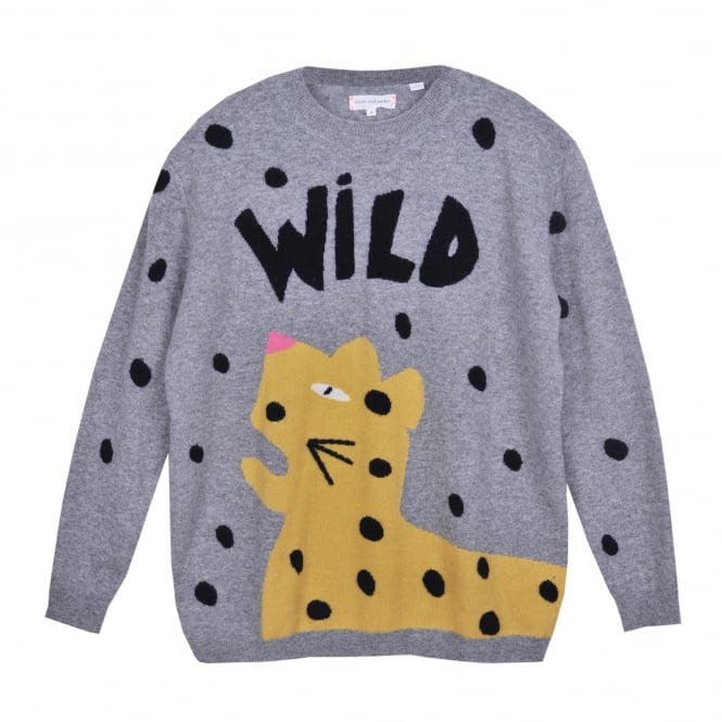 Chinti and Parker Cashmer Wild Leopard Intarsia Sweater