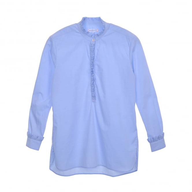Chinti and Parker Frill Shirt in Blue