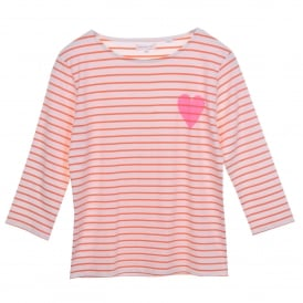 Heart Detail Breton Tee in Carrot/Ivory