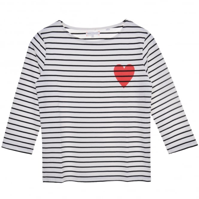 Chinti and Parker Heart Embellished Breton Tee