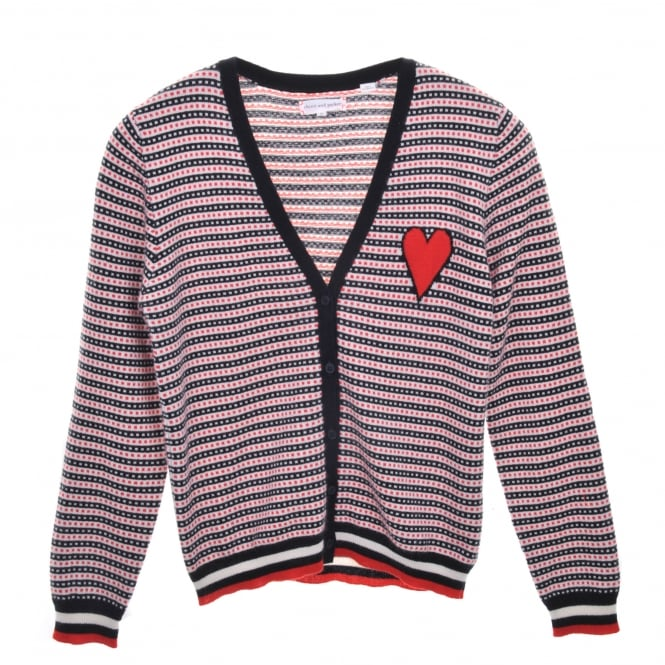Chinti and Parker Heart Jaquard Cashmere Cardi