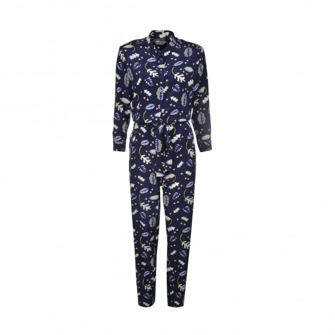Chinti and Parker Leaf Print Silk Jumpsuit