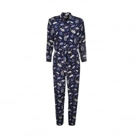 Leaf Print Silk Jumpsuit