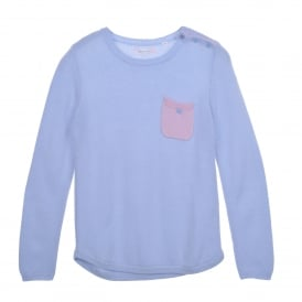 One Pocket Sweater in Blue/Pink