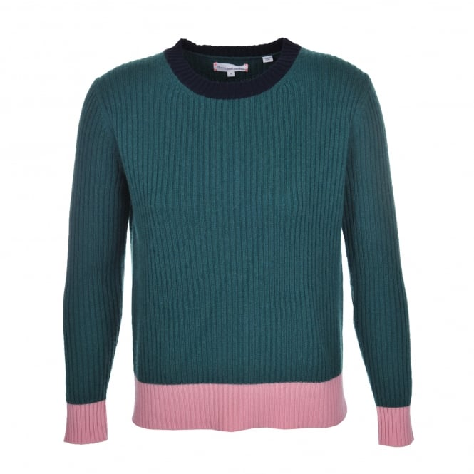 Chinti and Parker Ribbed Block Sweater Green