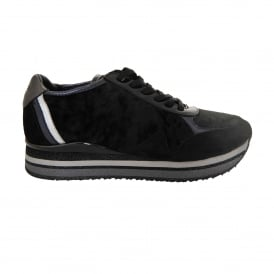 Speed Velvet Trainer in Black