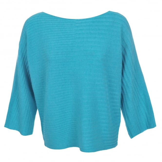 Duffy Clothing Batwing Rib Sweater in Aqua