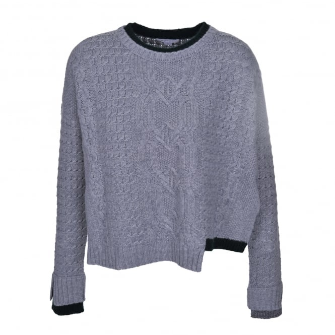 Duffy Clothing Crew Neck Cable Sweater in Grey