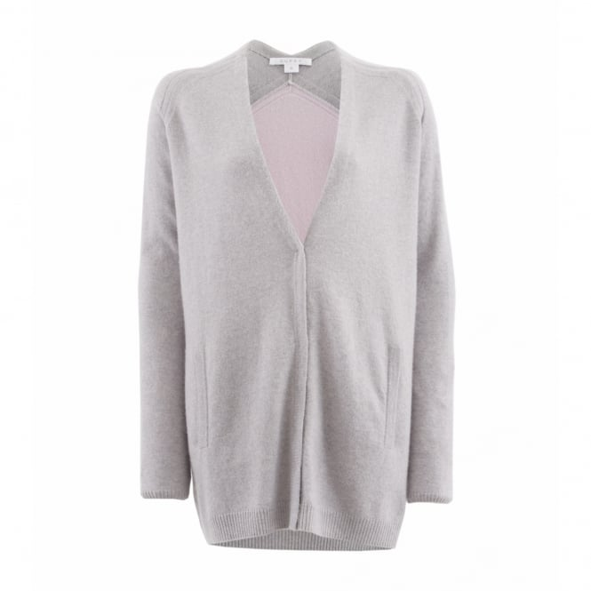 Duffy Clothing Hidden Placket Cardi in Light Grey and Mauve
