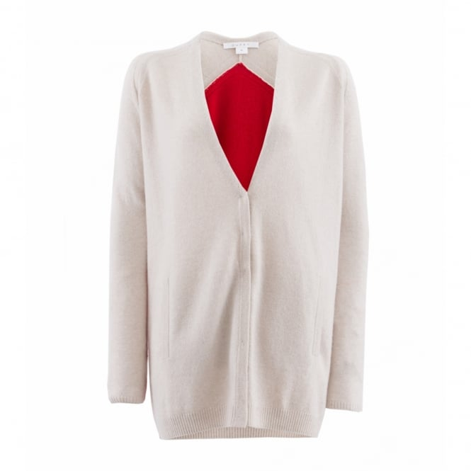 Duffy Clothing Hidden Placket Cardi in Oatmeal and Lipstick