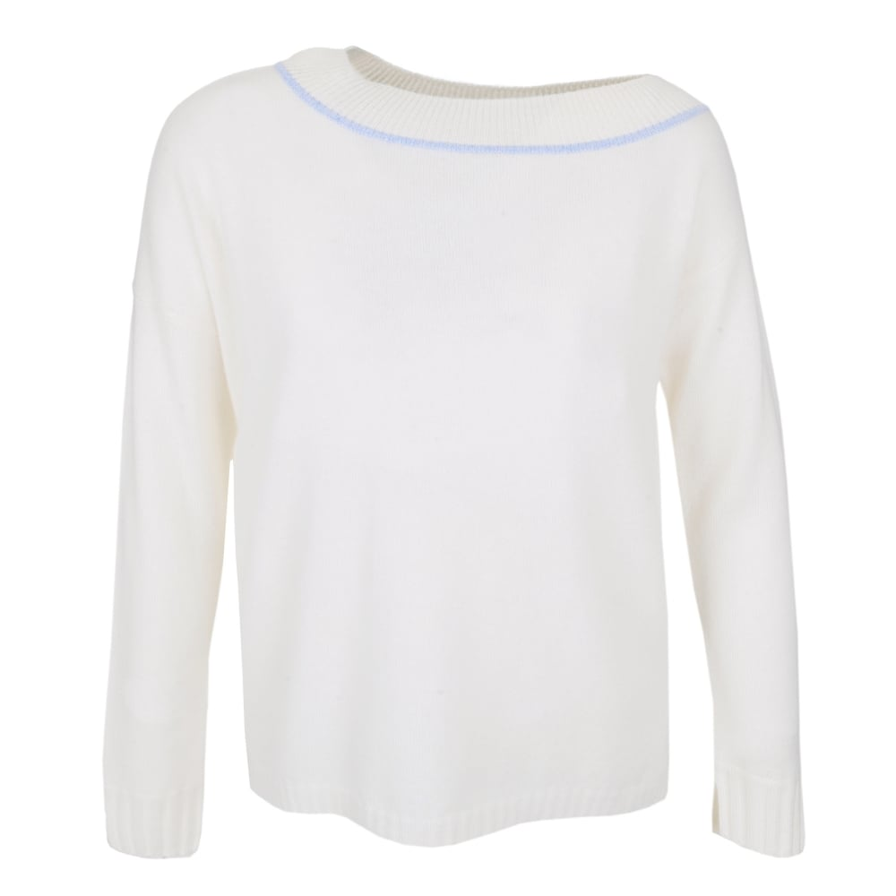 Boat Neck Sweater in Sky Heather/Ivory | Stanwells