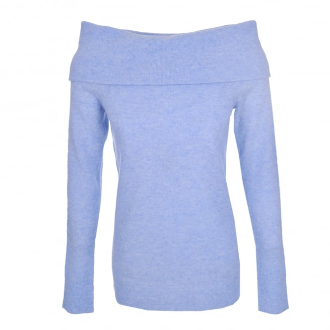 Duffy Clothing Off The Shoulder Sweater Sky Heather