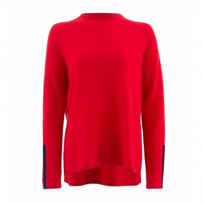 Duffy Clothing Slight Funnel Neck Sweater in Lipstick