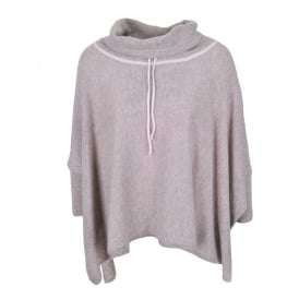 Tie Neck Poncho in Drift Heather/Champagne