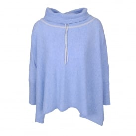 Tie Neck Poncho in Sky Heather/Ivory