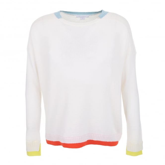 Duffy Clothing Wide Neck Sweater in White