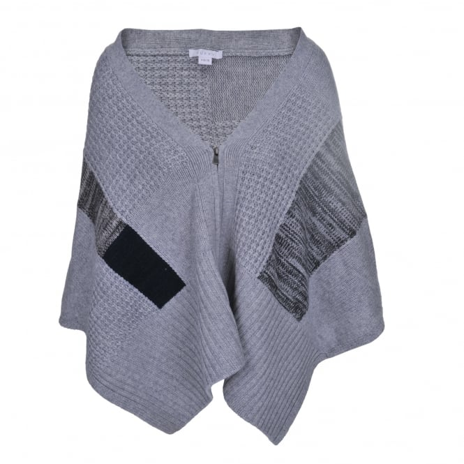 Duffy Clothing Zipped Cape in Heather and Grey Marl