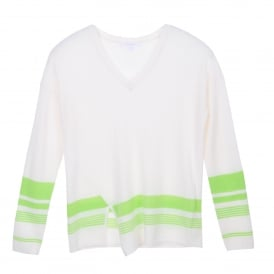 Slash Hem Sweater Niveous/Apple Green