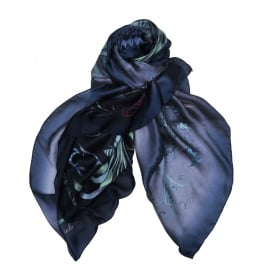 Audubon Silk Chiffon Scarf in Midnight