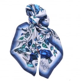 Frith Silk Chiffon Scarf in Blue