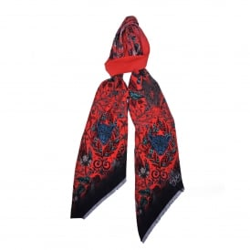Silk Skinny Scarf in Red