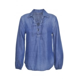 Frame Denim Lace-Up Blouse in Hadley
