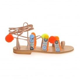 Bodrum Pom Pom Sandal in Orange