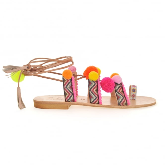 Gia Couture Bodrum Pom Pom Sandal in Pink