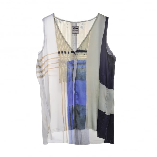 Go Silk Long and Lean Tank in Mondrian Print