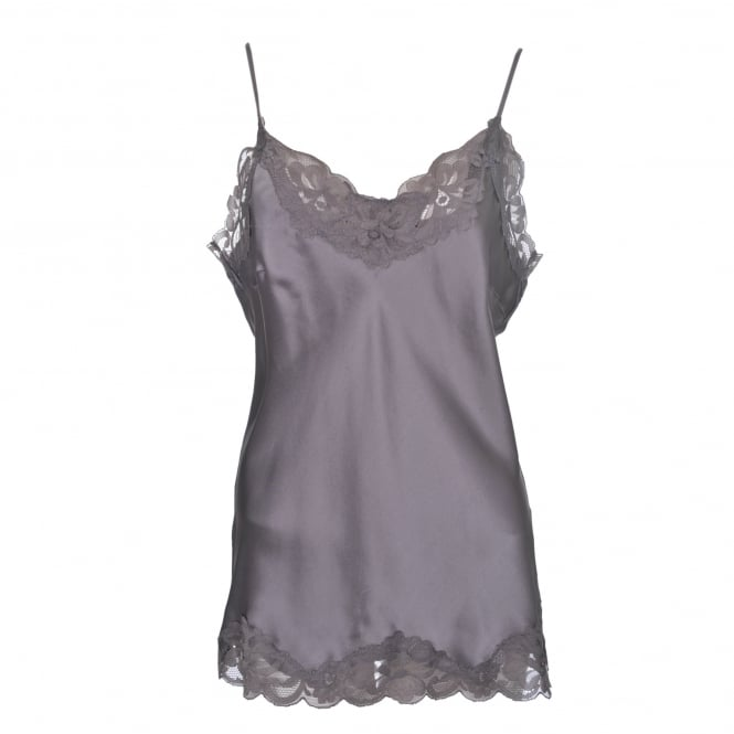 Gold Hawk Floral Lace Cami in Stone Grey