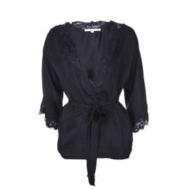 Gold Hawk Floral Lace Jacket in Black