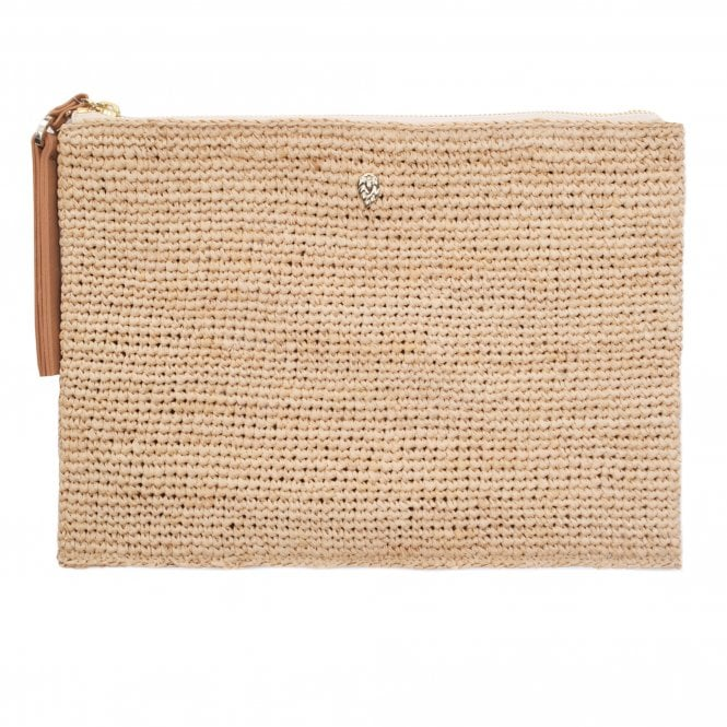 Helen Kaminski Karina Clutch in Natural/Desert