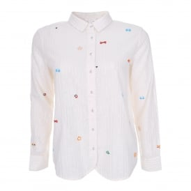 Beaded Stripe Shirt in Natural