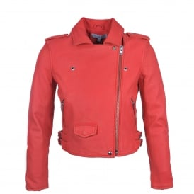 Ashville Leather Biker Jacket in Coral