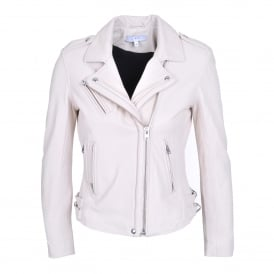 Han Leather Biker Jacket in Ivory