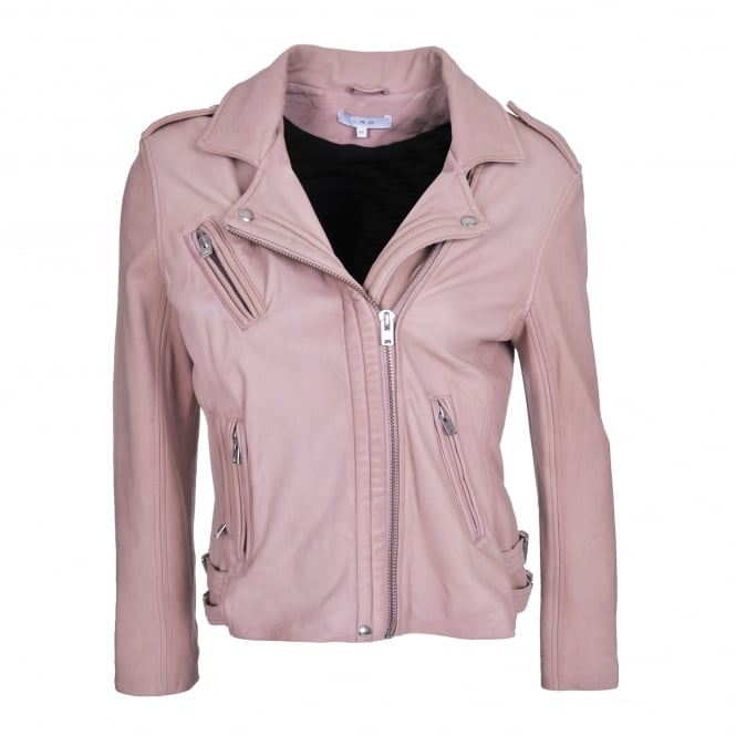 Iro Han Perfecto Leather Jacket in Nude Pink