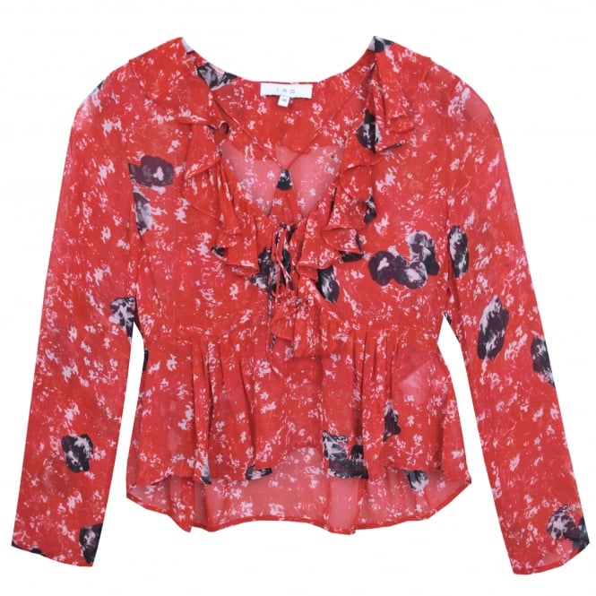 Iro Venecia Frill Top in Red and Black