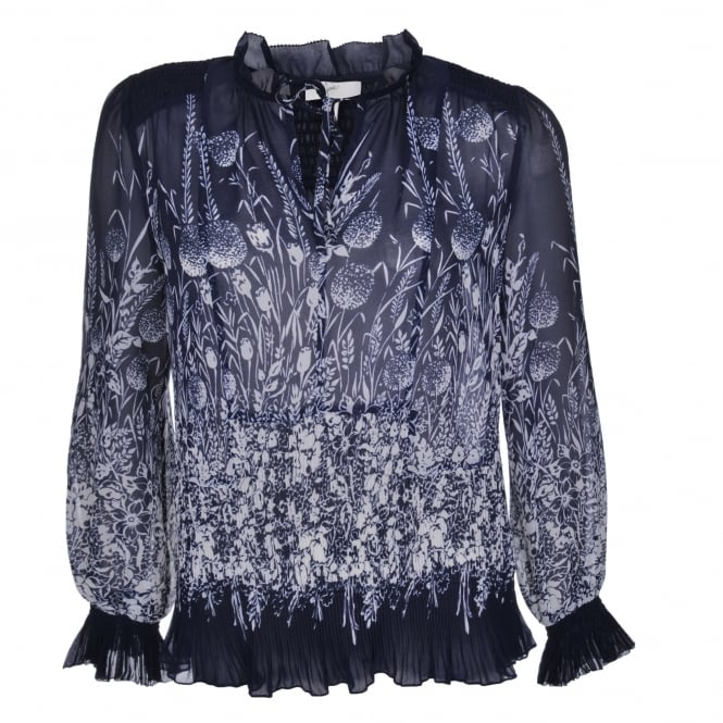 Joie Rita Blue & White Pleat Blouse
