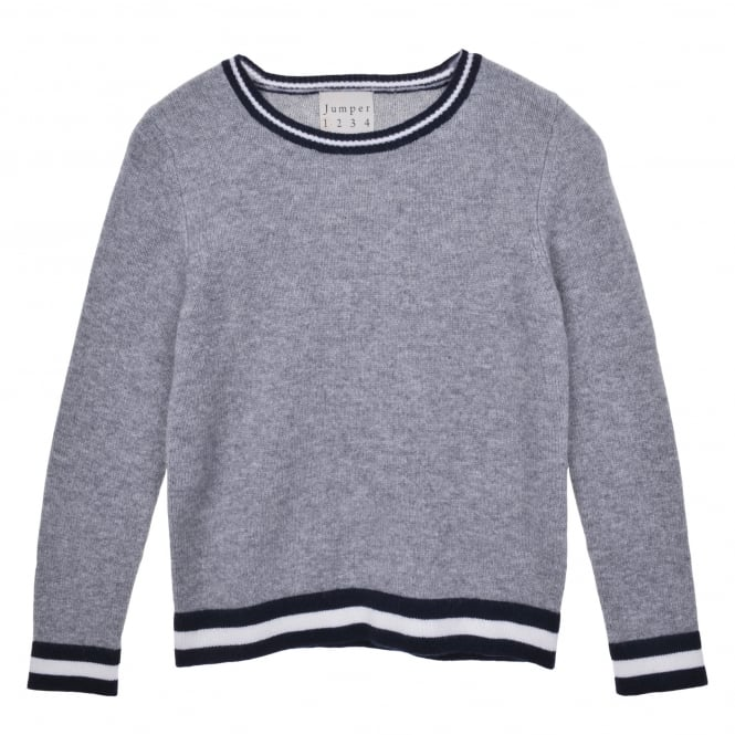 Jumper 1234 Grey Boxy Crew Neck with Stripe