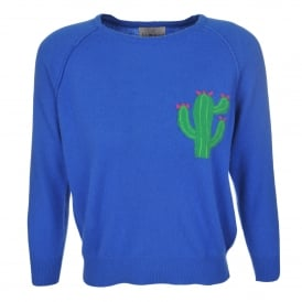 Little Cactus Crew Sweater Sky Blue