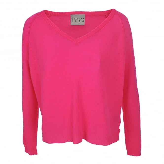 Jumper 1234 Loose Knit Boyfriend V-Neck Cashmere in Neon Pink