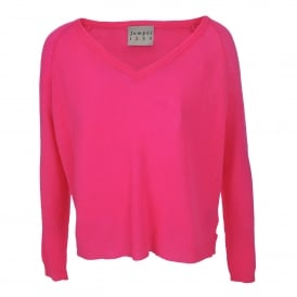 Loose Knit Boyfriend V-Neck Cashmere in Neon Pink