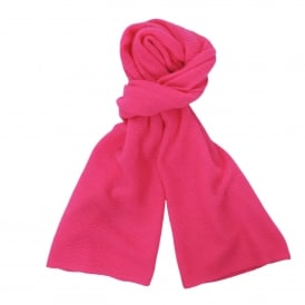 Loose Knit Cashmere Scarf in Neon Pink