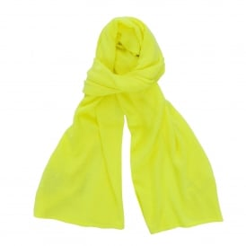 Loose Knit Cashmere Scarf in Neon Yellow
